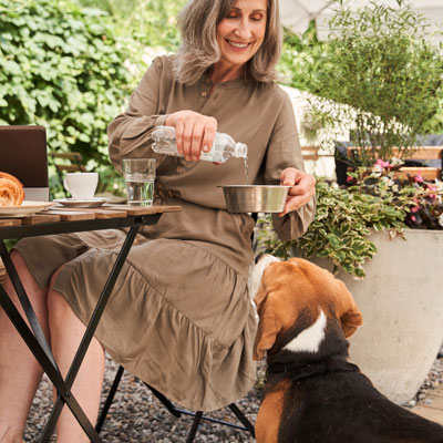 woman with a dog at Maple Glen restaurant